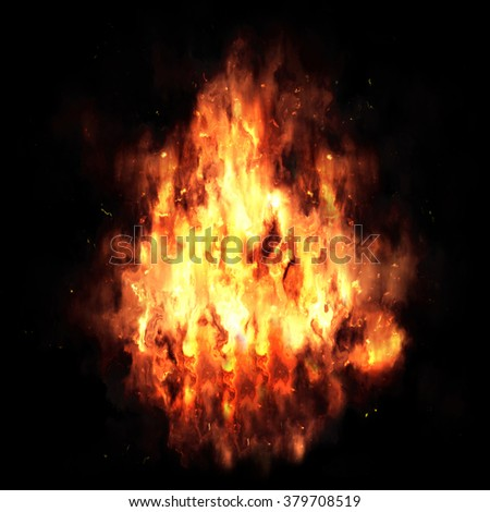 Big explosion. Bright explosion on a black background. - stock photo
