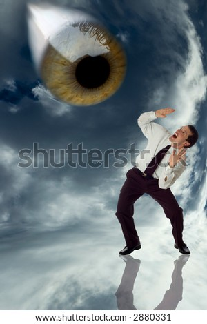 big eye looking from above to afraid business men - stock photo