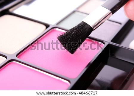 Big eye shadow kit and applicator - stock photo