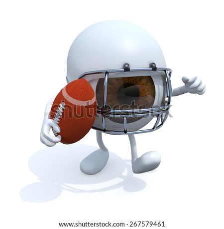 big eye with arms, legs, helmet and rugby ball, 3d illustration - stock photo