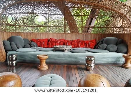 big fabric sofa, Tibet traditional - stock photo