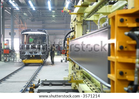 Big factory with a lot of machine tools. 10 - stock photo