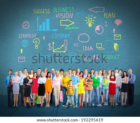 Big family people group over wall background. - stock photo