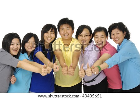 Big family showing ok sign