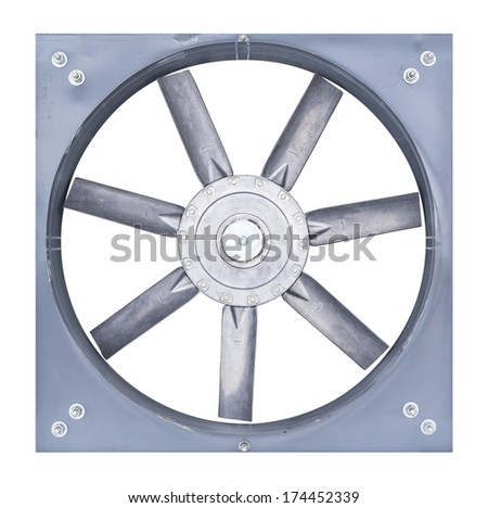 Big fan for sucking air inside to outside of factory, isolate on white background. - stock photo