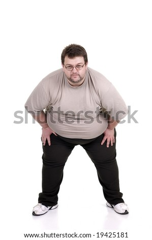 big fat man in sumo pose :) - stock photo