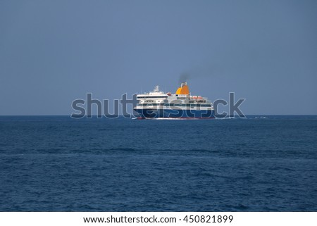 Big ferry boat in the sea