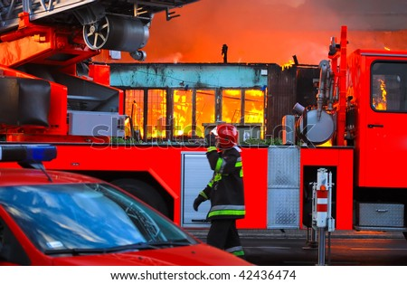 Big fire in city - stock photo