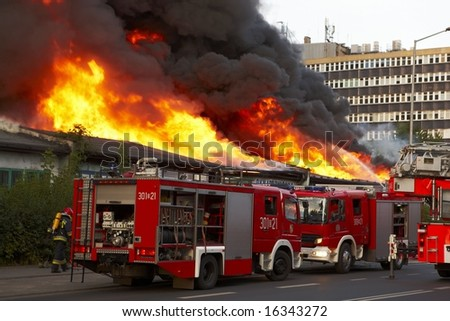 Big fire in Wroclaw, Poland 2008 - stock photo