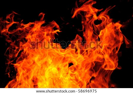 Big fire or conflagration, flames isolated on black background