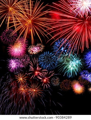 Big fireworks festive display collection against dark sky background - stock photo