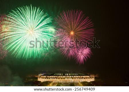 Big fireworks over Luzhniki stadium in Moscow - stock photo