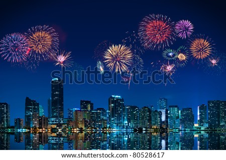 Big fireworks over the skyline of downtown Miami