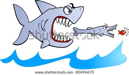 Shark eating fish clip art images for Big fish eat small fish