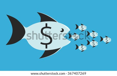 Big fish with dollar sign eating many small ones. Competition, merger, business, monopoly concept - stock photo