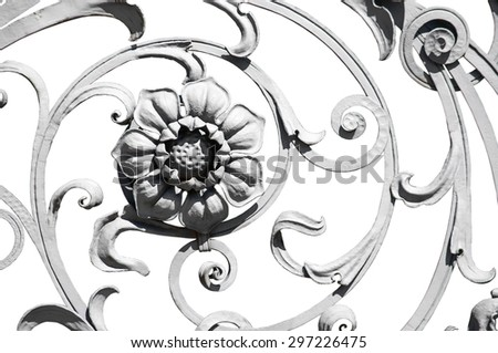 Big flower detail of the grey wrought ornate fence isolated on white - stock photo