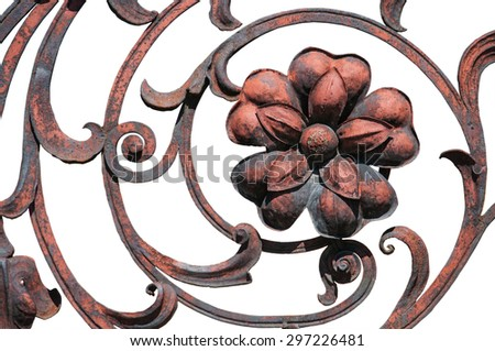 Big flower detail of the rust wrought ornate fence isolated on white - stock photo