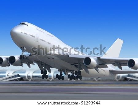 big flying up passenger airplane on airport background