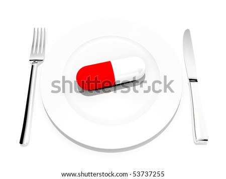 big food pill on a dinner plate with silverware on a white background