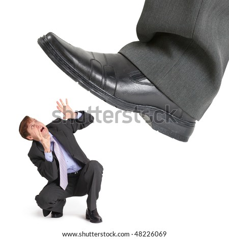 Big foot of crisis crushes small entrepreneur isolated on white - stock photo