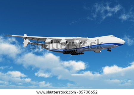 Big freight airiner in the midair - stock photo