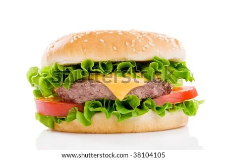 Big fresh delicious hamburger isolated on white background. Professional studio image - stock photo