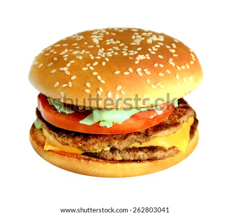Big fresh delicious hamburger on a white background - stock photo
