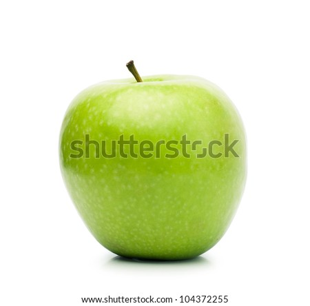 Big fresh green apple isolated over white background - stock photo