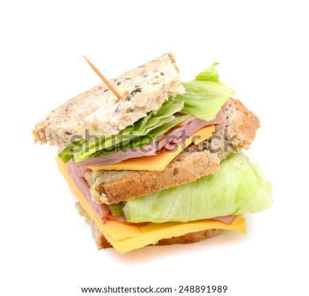 big fresh sanwich with ham, cheese and vegetable