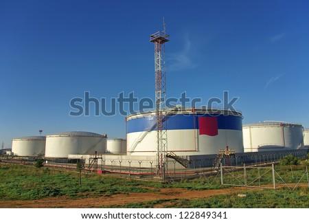 Big fuel storage tanks - stock photo