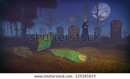 Big full moon above old creepy cemetery with freshly dug grave and silhouette of a grim reaper. Old church and dead trees in the distance. Realistic 3D illustration. - stock photo