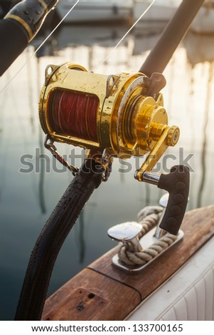 big game fishing, reels and rods - stock photo