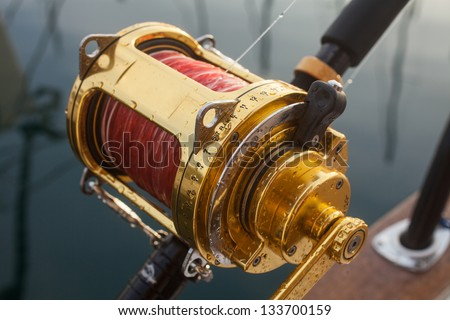 big game fishing, reels and rods fishing, reels and rods - stock photo