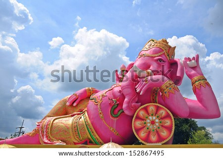 Big Ganesha statue in relaxing action, Thailand
