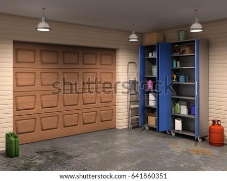 big garage interior with garage doors 3d