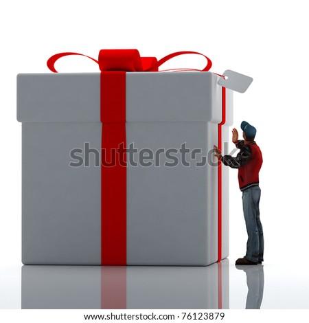 Big gift. - stock photo