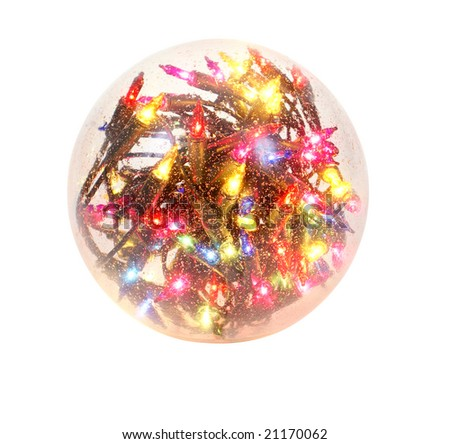 big glass ball full of christmas lights isolated on white background