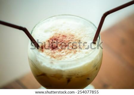 Big glass ice coffee  - stock photo