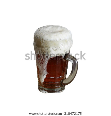Big glass mug of beer with foam isolated on square white background - stock photo