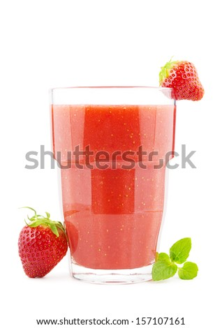 Big glass of fresh homemade strawberry smoothie - stock photo
