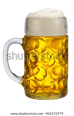 big glass of lager beer from Bavaria and Munich Oktoberfest - stock photo