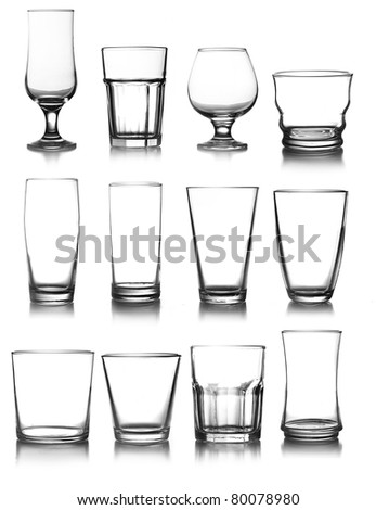 big glassware collection isolated on a white background