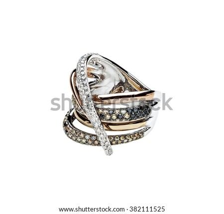 big gold ring with diamonds