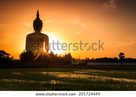 Big Golden Buddha at Wat Muang in Ang Thong, Thailand  - stock photo