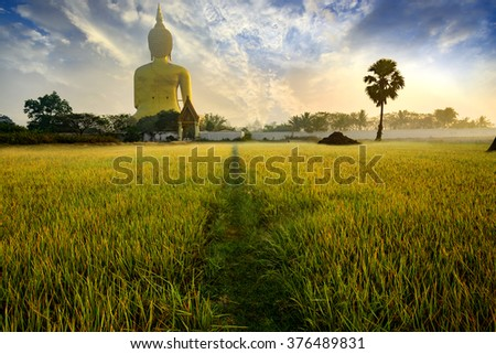 Big golden buddha statue in the temple of Thailand/Wat Maung ,Angthong Province, Thailand. - stock photo