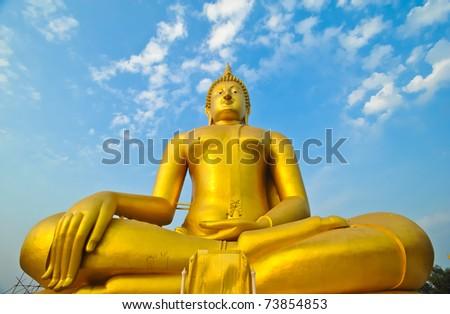 Big Golden Buddha with sky at Wat Muang, Ang Thong Province, thailand - stock photo