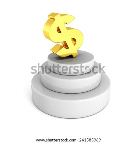 big golden dollar currency symbol on concrete podium. financial business success concept 3d render illustration - stock photo