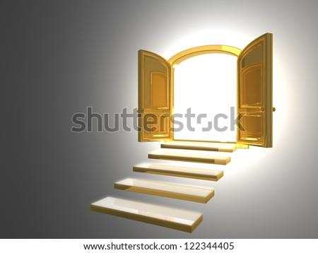 Big Golden Door opened on white with some gold steps & Golden Door Stock Images Royalty-Free Images \u0026 Vectors   Shutterstock Pezcame.Com