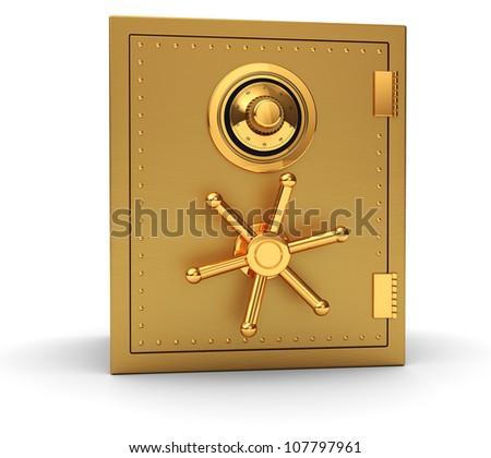 Big golden safe isolated on white background - stock photo
