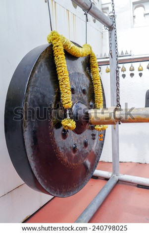 Big gong in temple Thailand. - stock photo